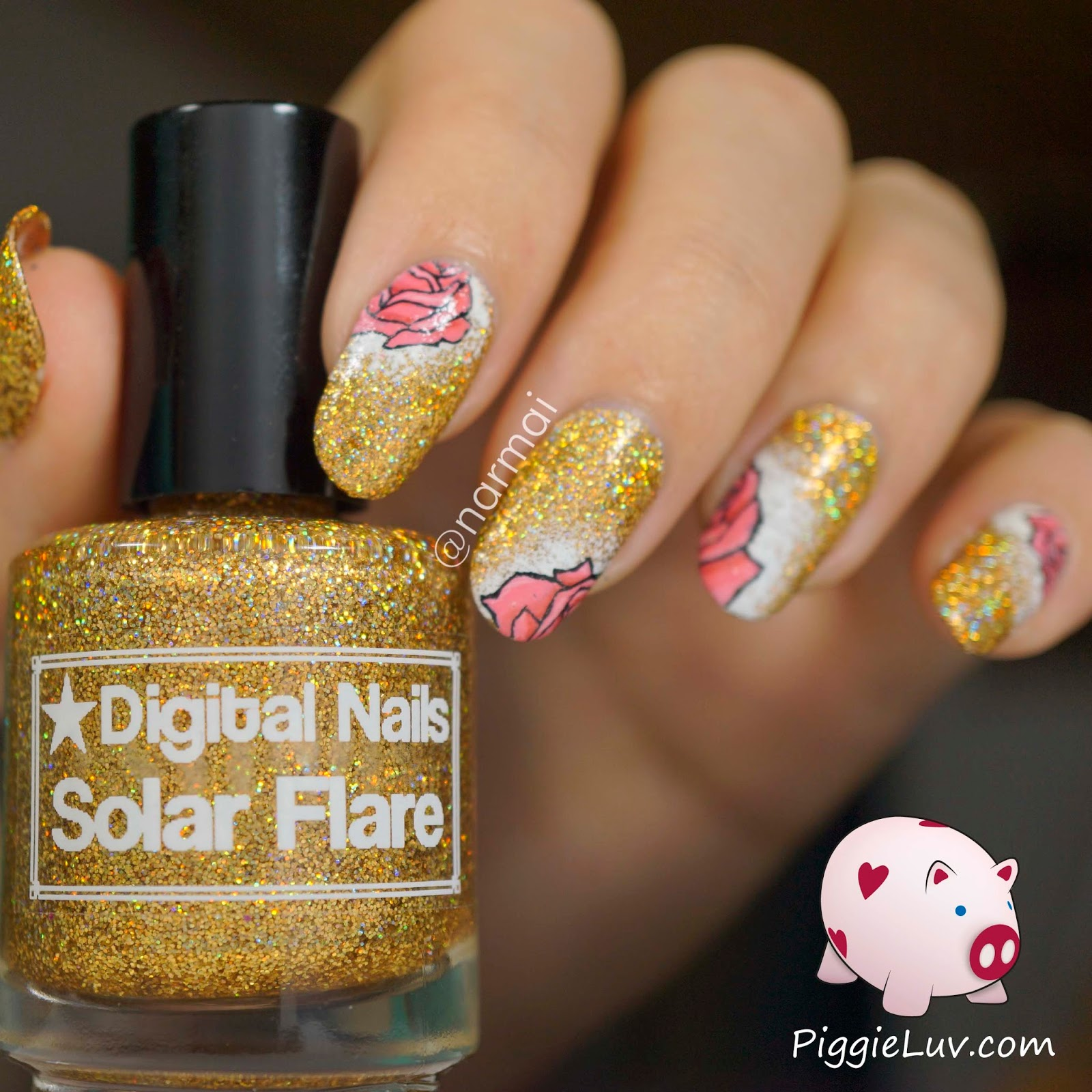 PiggieLuv: Gold glitter with pink roses nail art