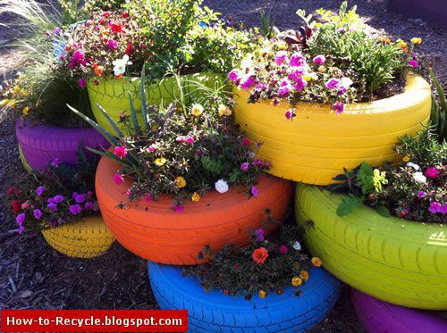 How to recycle old tires as a flower pots for Recycled flower pots