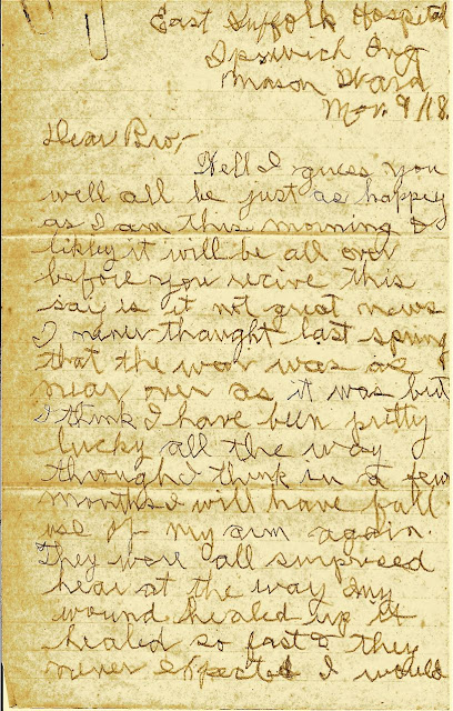 Letters From World War One November 9 1918 East Suffolk