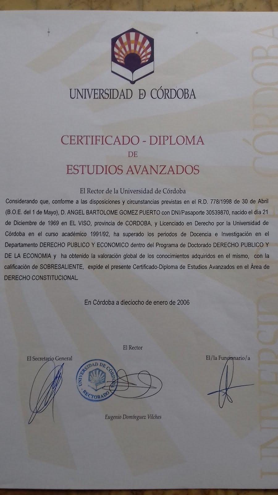 Diploma de Estudios Avanzados en Derecho Constitucional: