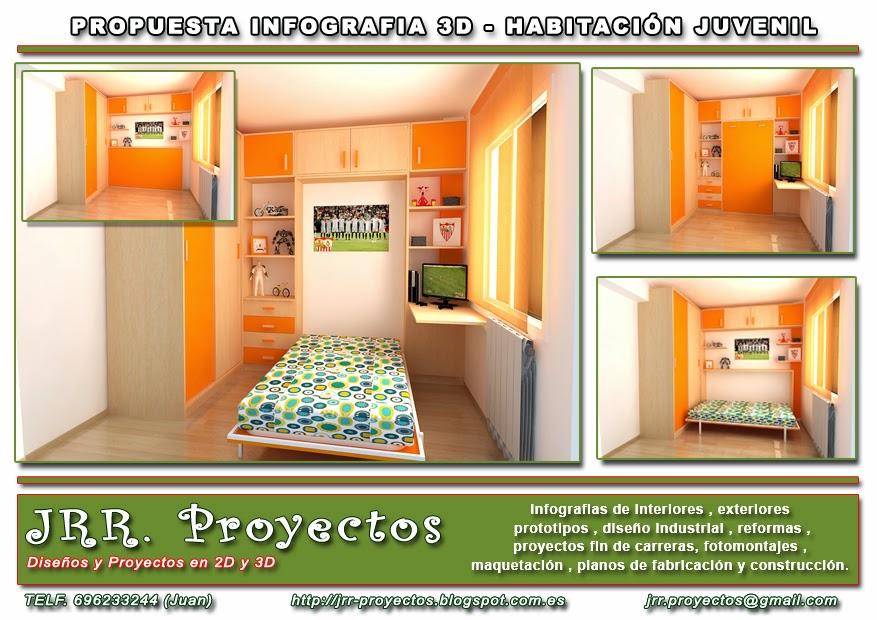 Jrr proyectos habitaci n juvenil for Mobiliario habitacion juvenil
