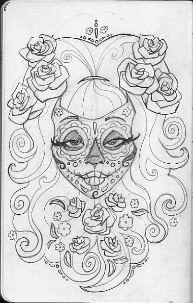 Tattoodonkey Sugar Skull Coloring Page Tattoo Dragoart
