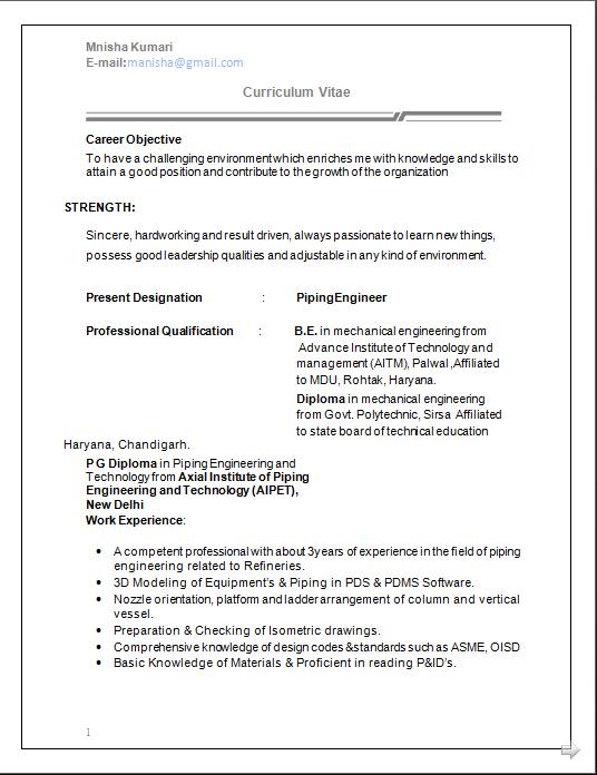 dynamic resume cv formats mechanical engineer