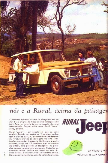 Propaganda da Rural Jeep fabricada pela Willys na década de 60.