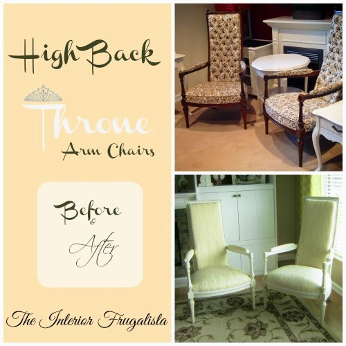 High Back Throne Arm Chairs Before and After