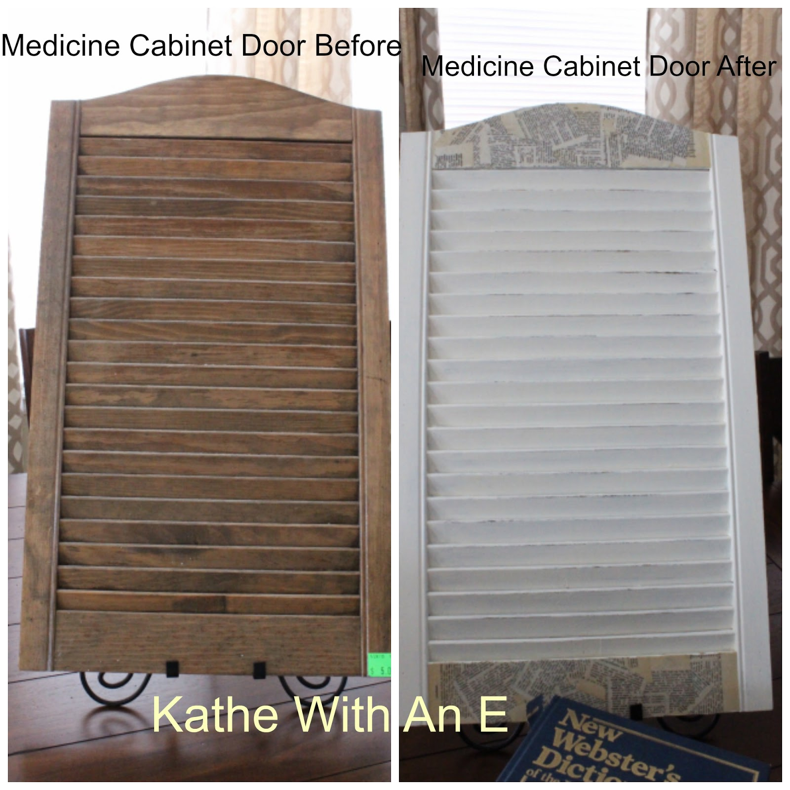 DIY Shutter From A Bathroom Medicine Cabinet Door Using Homemade Chalk Paint