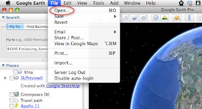 Google Earth - KML-Datei öffnen