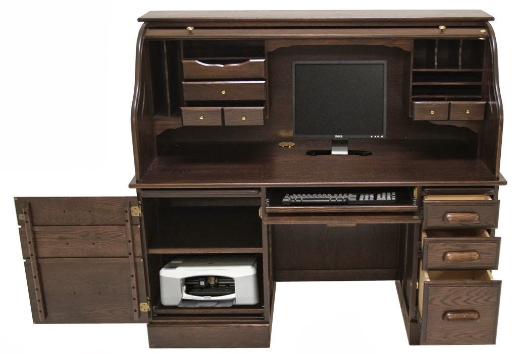 Solid Computer Espresso Oak Roll Top Desk