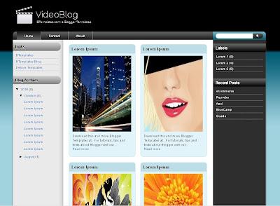 VideoBlog 4 columns Blogger Template