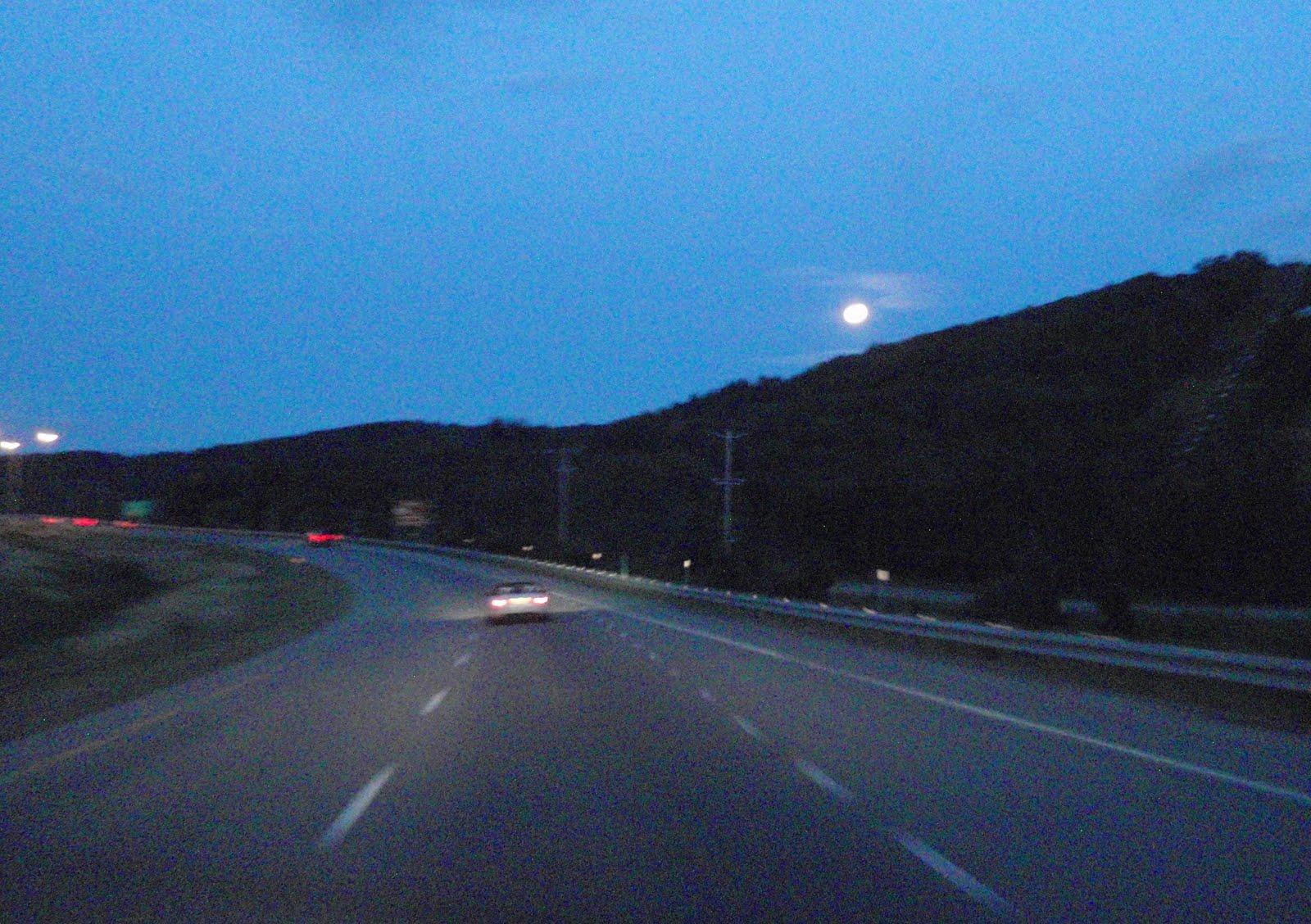 Moon is coming up on the way back to camp.