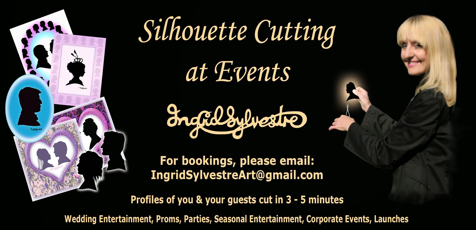 Silhouette Cutting at Events North East Wedding Entertainment Durham Christmas EntertainmentNewcastle upon Tyne Northumberland Wedding Entertainment Sunderland Christmas Party Entertainment Middlesbrough Teesside Corporate Events Entertainment Yorkshire Ingrid Sylvestre Silhouette Artist UK