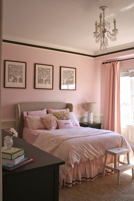 habitaciones con estilo cuartos para chicas en rosa y chocolate. Black Bedroom Furniture Sets. Home Design Ideas