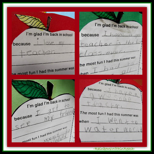 """I'm glad I'm back in school because...... "" (First grade responses at RainbowsWithinReach)"
