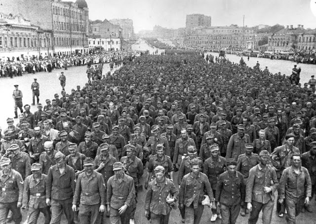 "57,000 German prisoners march to moscow after defeat at Belarus during ""Operation Bagration"" 17 July 1944."