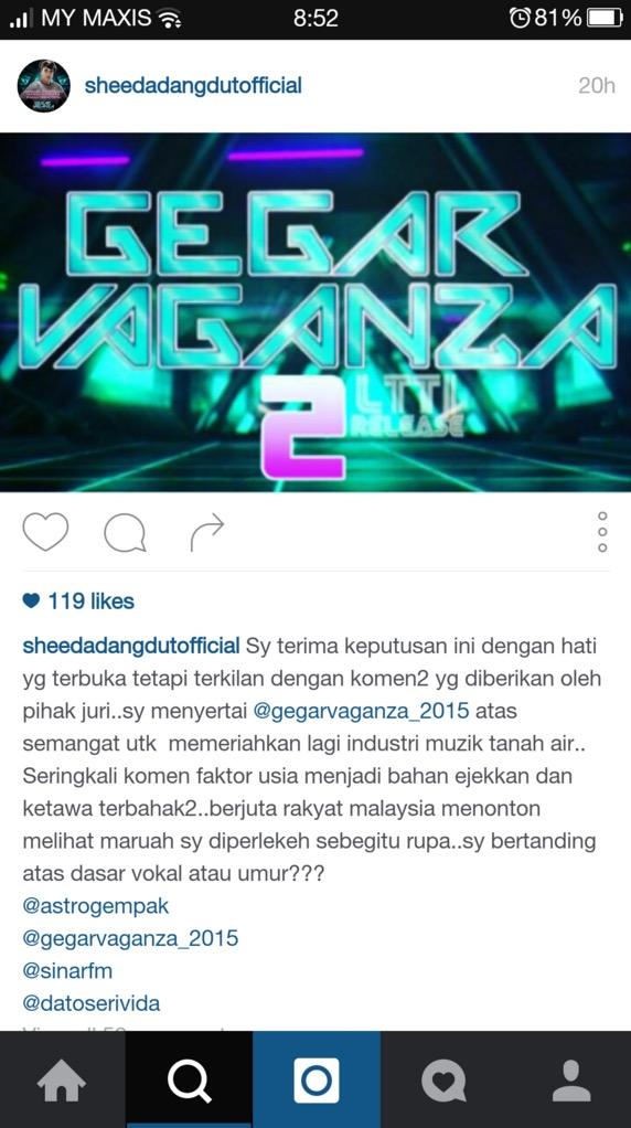 Sheeda terkilan dengan komen melampau juri Gegar Vaganza 2 yang mengejek umurnya