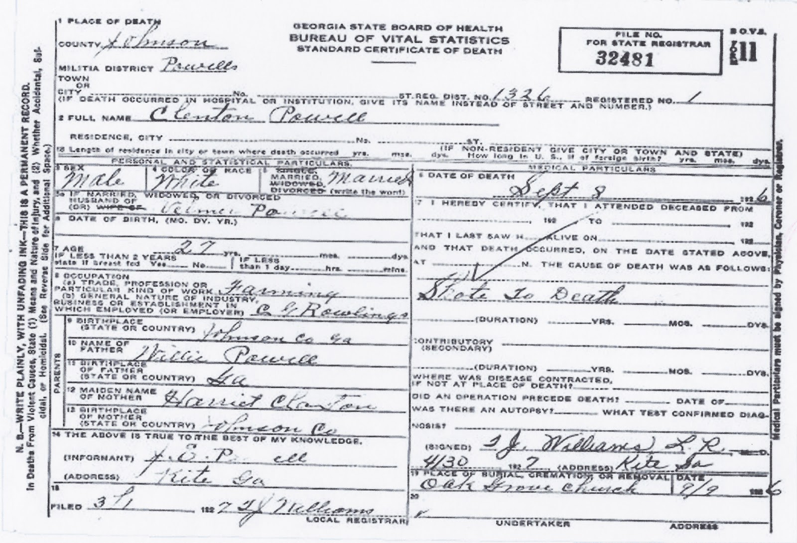 My tapley treed its branches september 2012 i did however acquire a copy of clinton powells death certificate which shows he was shot to death and died on september 8 1926 1betcityfo Choice Image