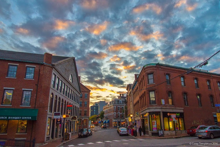 Portland, Maine October 2014 Sunset on Fore Street from  Boothby Square Old Port Photo by Corey Templeton