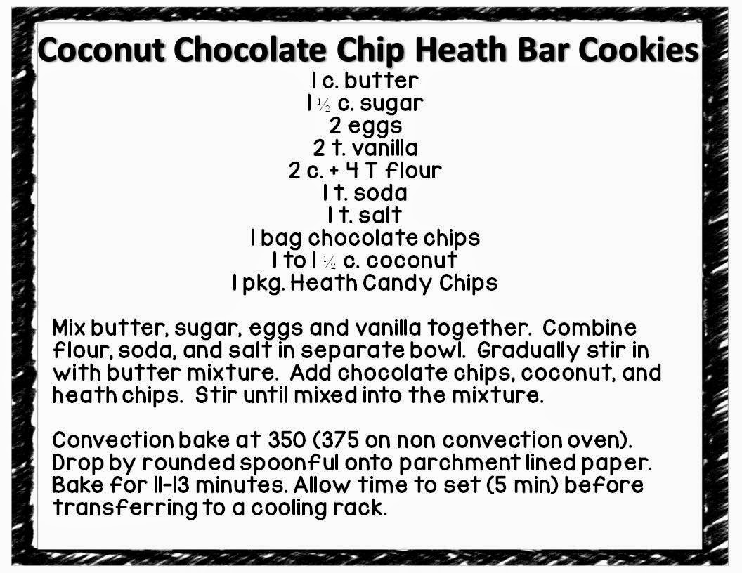 Coconut Chocolate Chip Heath Bar Cookies