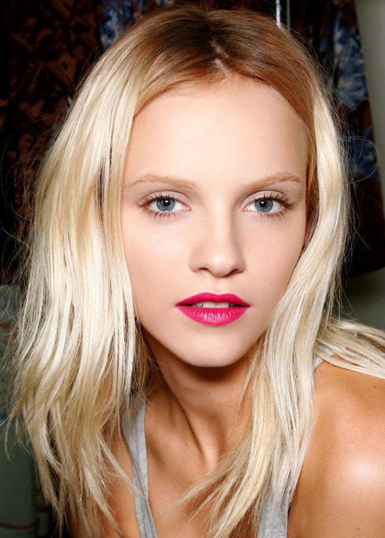 Ginta Lapina backstage beauty look by Makeup artist Peter Philips, created this pretty in pink look to contrast the '90s grunge-inspired plaids and florals of Dries Van Noten's S/S '13 collection