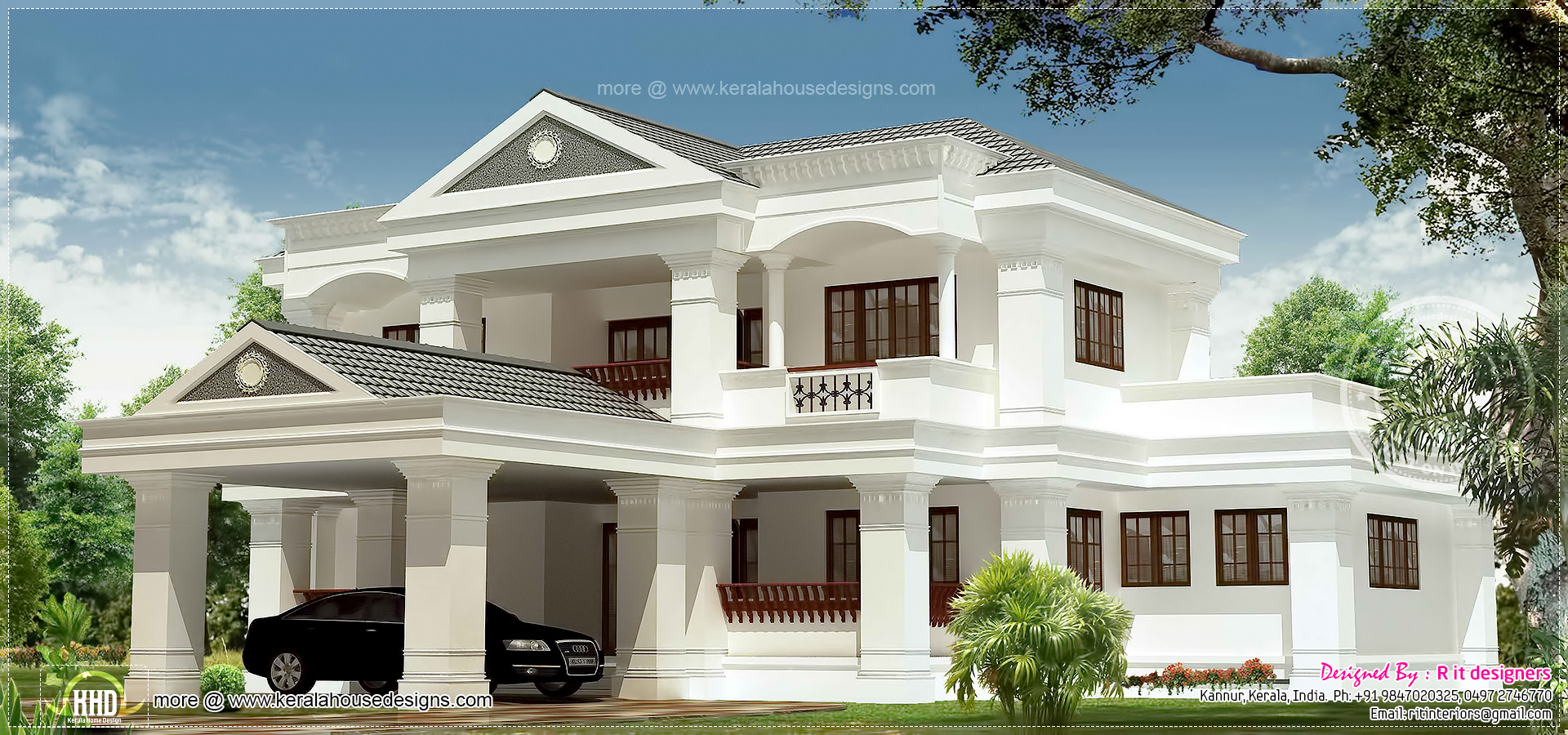 3100 luxury 5 bhk villa exterior kerala home for Home designs 3000 square feet