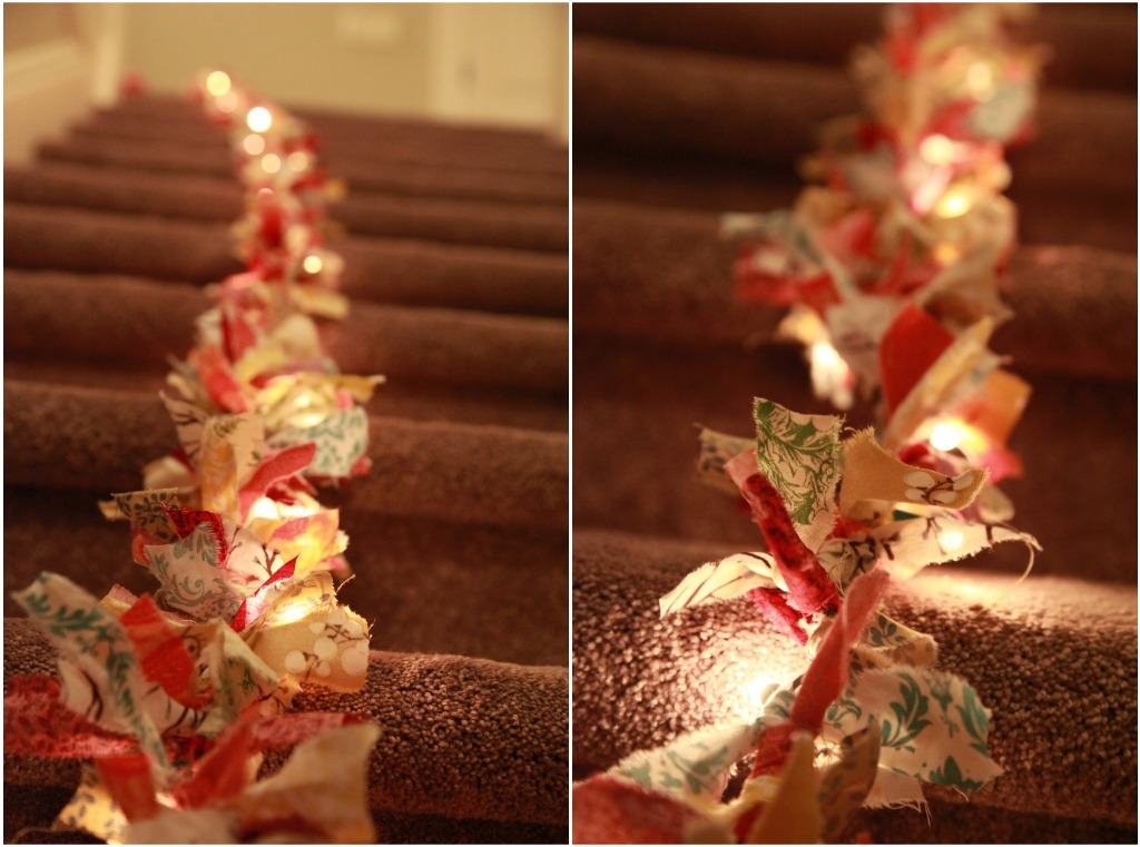 Vintage pretty diy christmas fabric garland