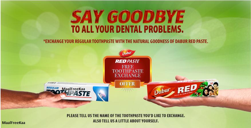 Free Dabur Red Paste Toothpaste Exchange Offer !! Dabur Dental ...