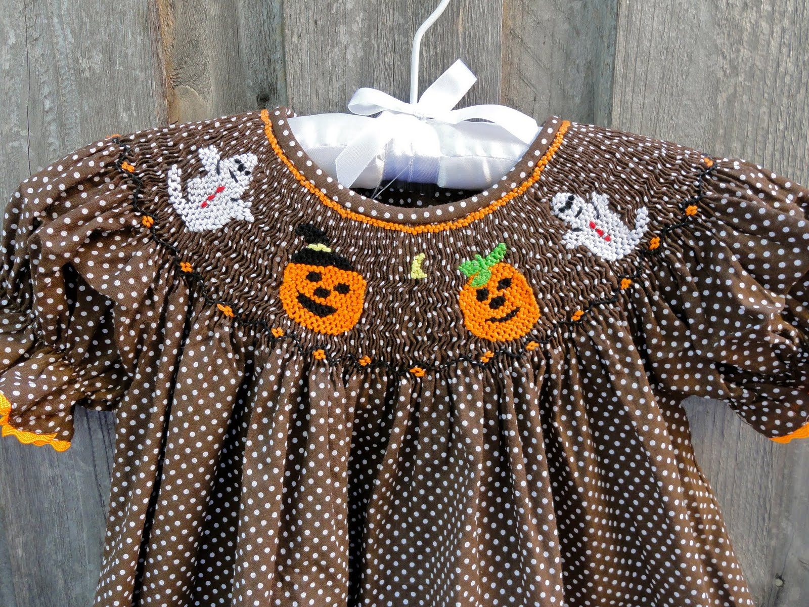 Bonnie Jean Girls Trick or Treat Ghost Halloween Orange Outfit 3M 6M 9M New
