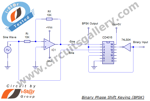 BPSK+Circuit+Diagram+2 Binary Phase Shift Keying (BPSK) modulation using CD4016 with Simulated output waveform
