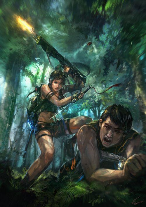 HongWen xaeroaaa deviantart ilustrações fantasia ficção científica Fugindo pela floresta