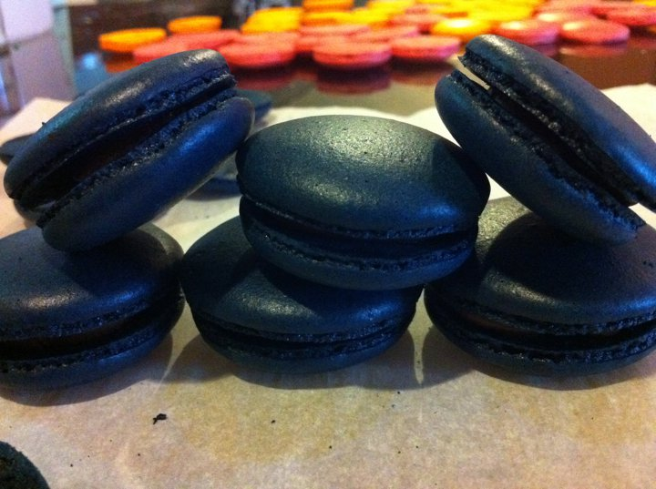 Black Tie Macarons with Valrhona Dark Choc Filing