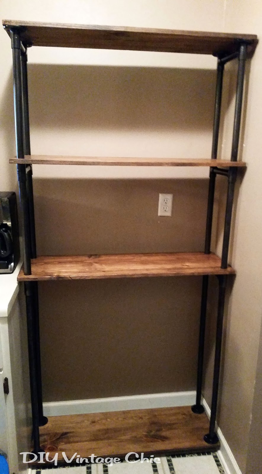 Delightful DIY Affordable Pipe And Wood Bakers Rack