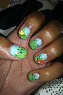 Snails, grass, spring, green, blue, nail art, mani
