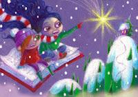 libro, alfombra voladora, postal navidad