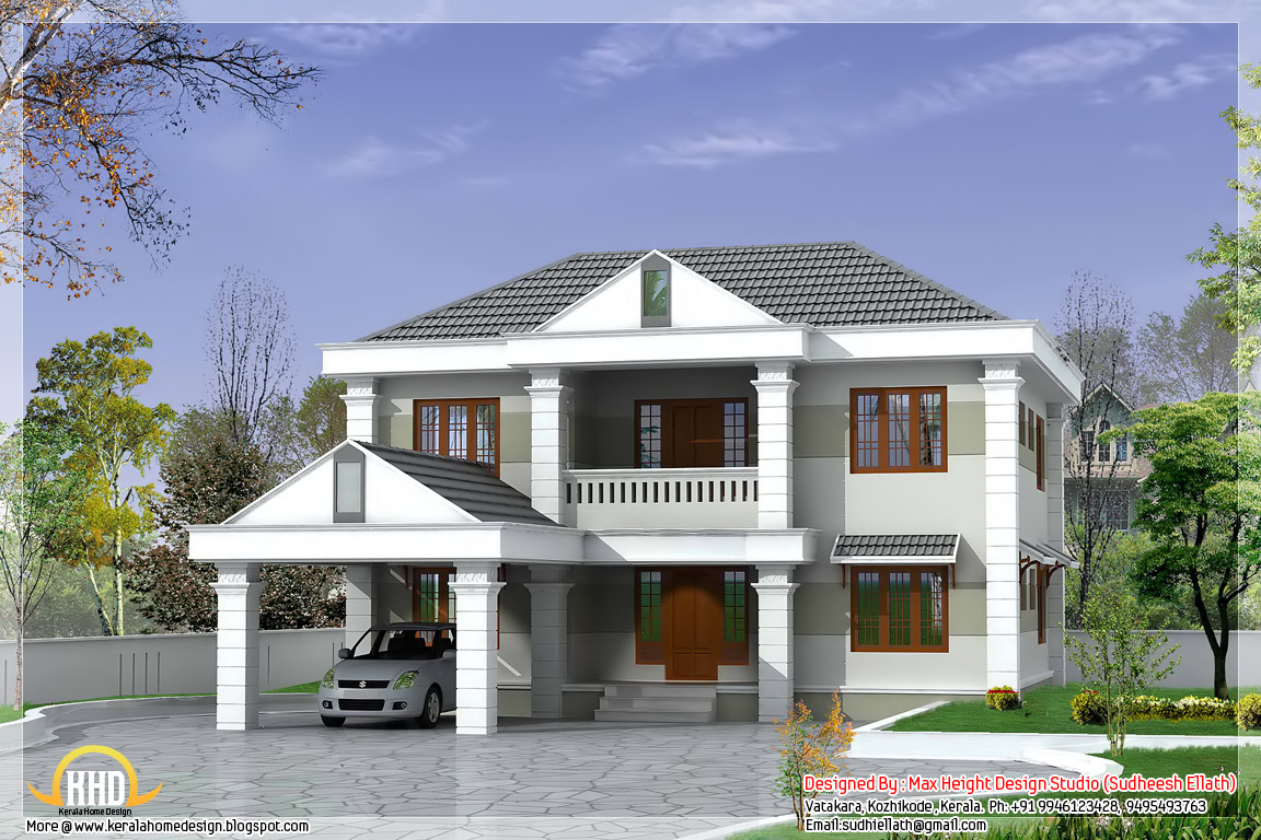 Double storey home design 2850 kerala home for Simple double storey house plans