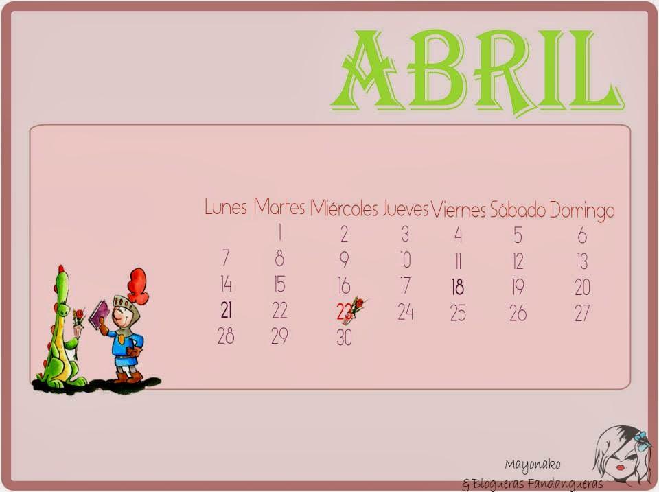 calendario Abril nueve