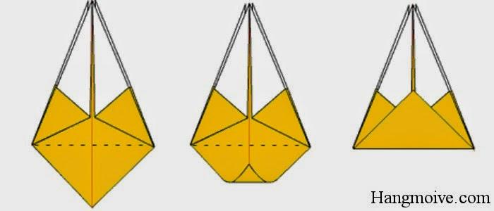 Bước 12: Gấp đáy dưới quả trám lên phía trên (như hình 2) sau đó lại mở ra ngay, mục đích để tạo thành nếp gấp.