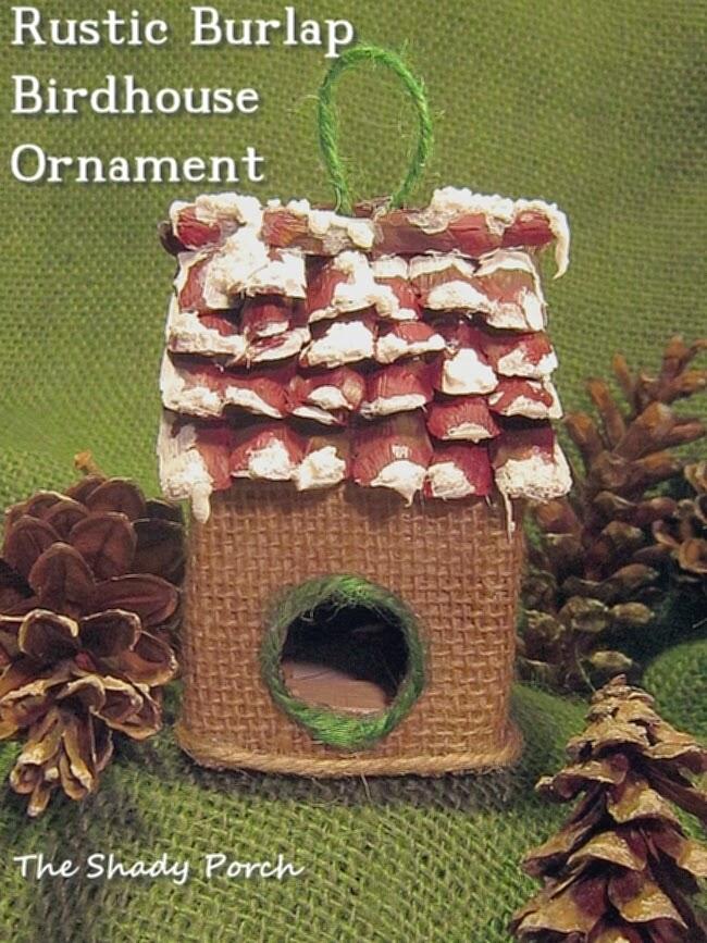Handmade Rustic Burlap Birdhouse Ornament #ornament #handmade #craft #burlap