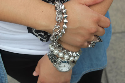 Silver Bangles and Watch Arm Party