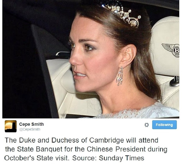 The Duchess Of Cambridge Will Attend The State Banquet