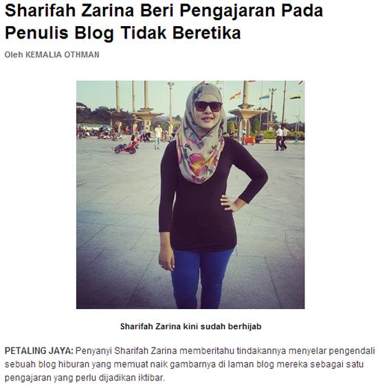 Sharifah Zarina Mahu Saman Blog ....