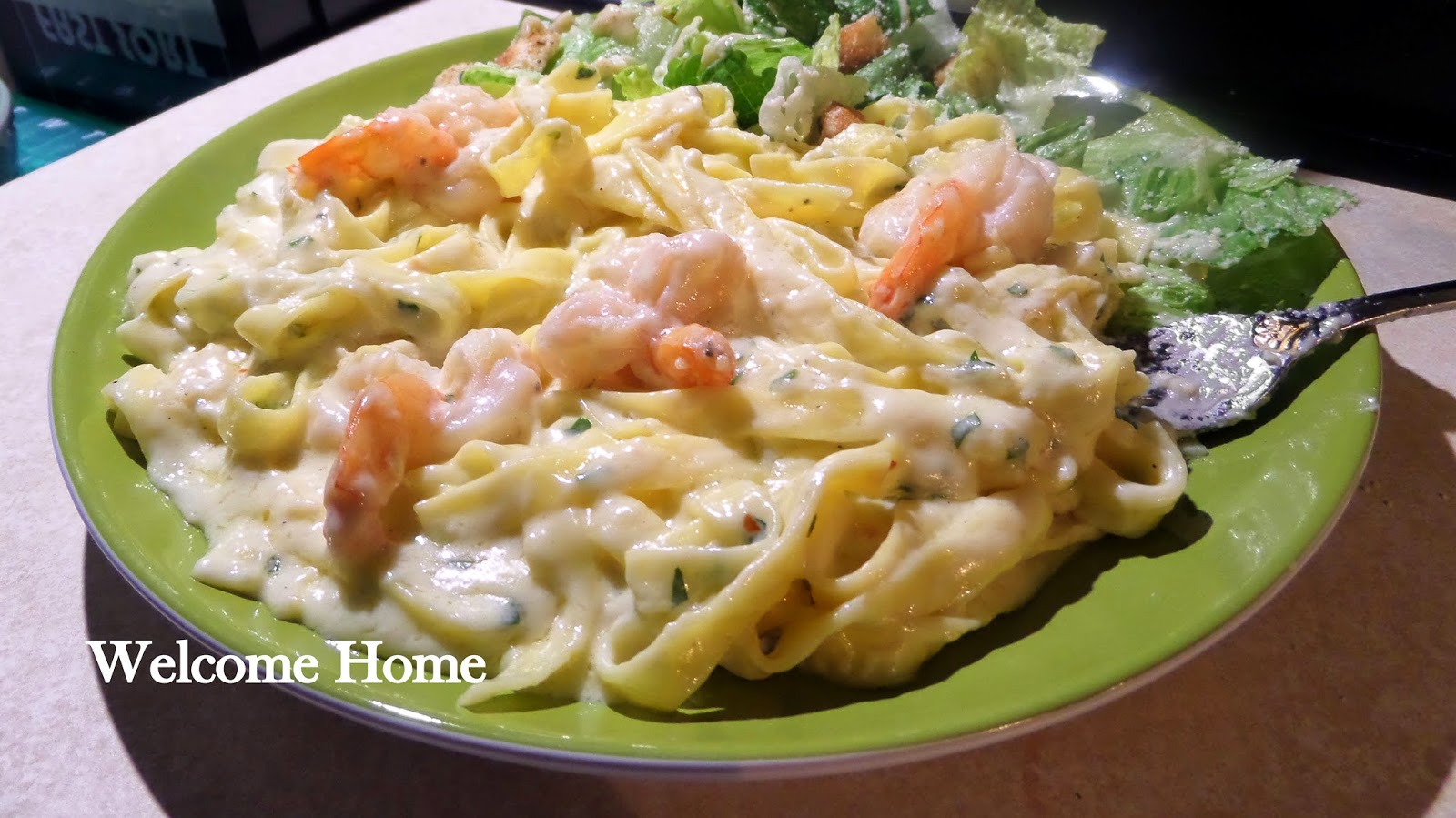 Welcome Home Blog: ♥ Fettuccine Alfredo with Shrimp