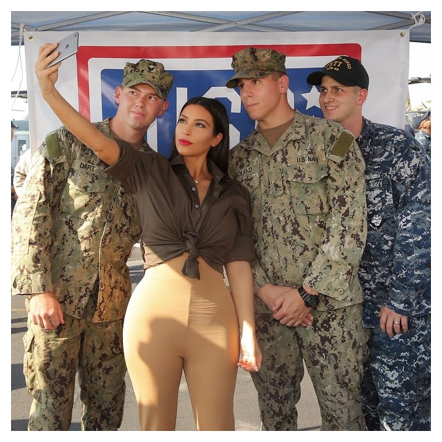 Kim Kardashian Selfie With Troops In Abu Dhabi