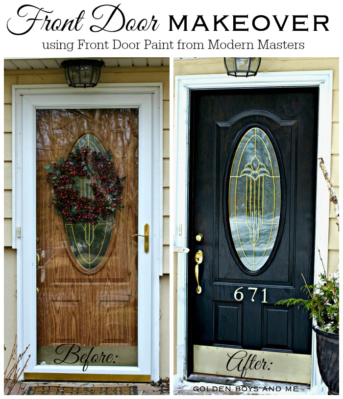 Front Door Makeover with Modern Masters Front Door Paint in Elegant black-www.goldenboysandme.com