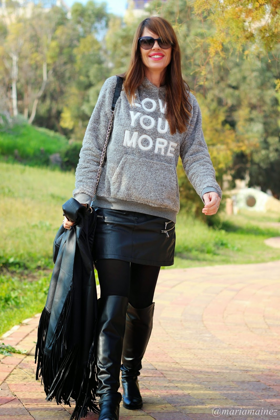 Capa Sheinside flecos - Outfit Invierno 2015 - Black and Grey - Boots UTK
