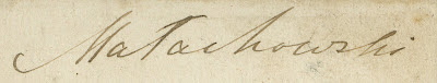 Podpis Gustawa hr.  Małachowskiego na rewersie fotografii portretowej. Zdjęcie z kolekcji Marcina Brzezińskiego