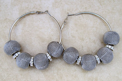 White Gold Mesh Earrings