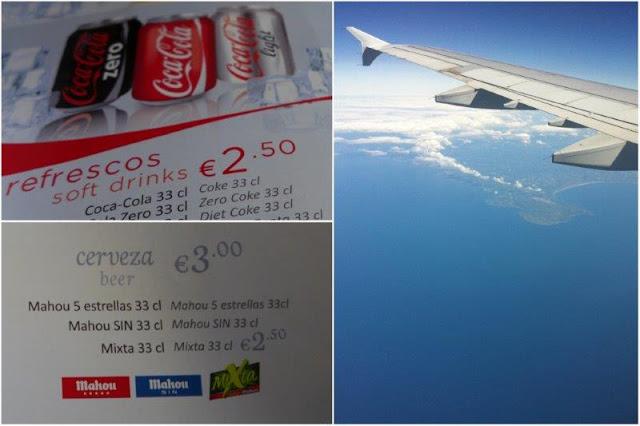 Carta de bebidas en avión, Vista de un ala de avión desde la cabina
