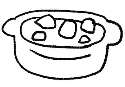 クリームシチューのイラスト モノクロ線画