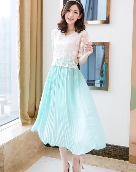 Busana: Long Dress Lime Green (BTA-157)