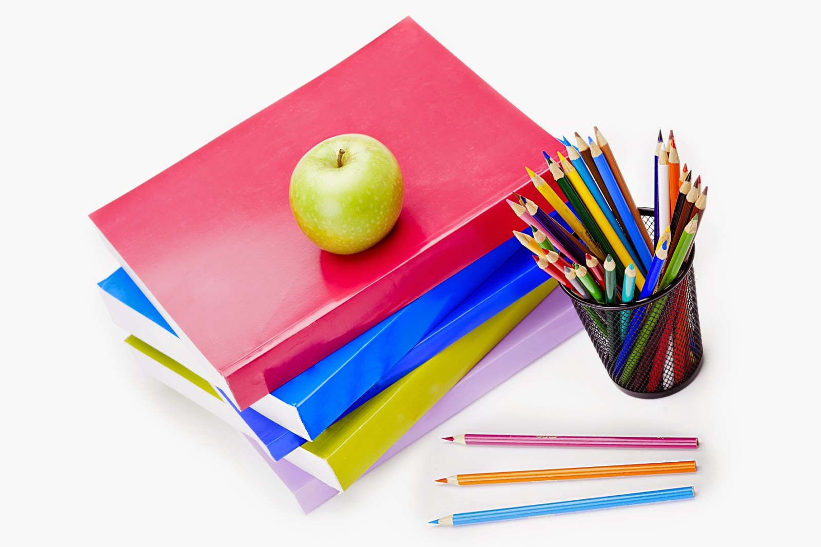 school supplies and apple for teacher